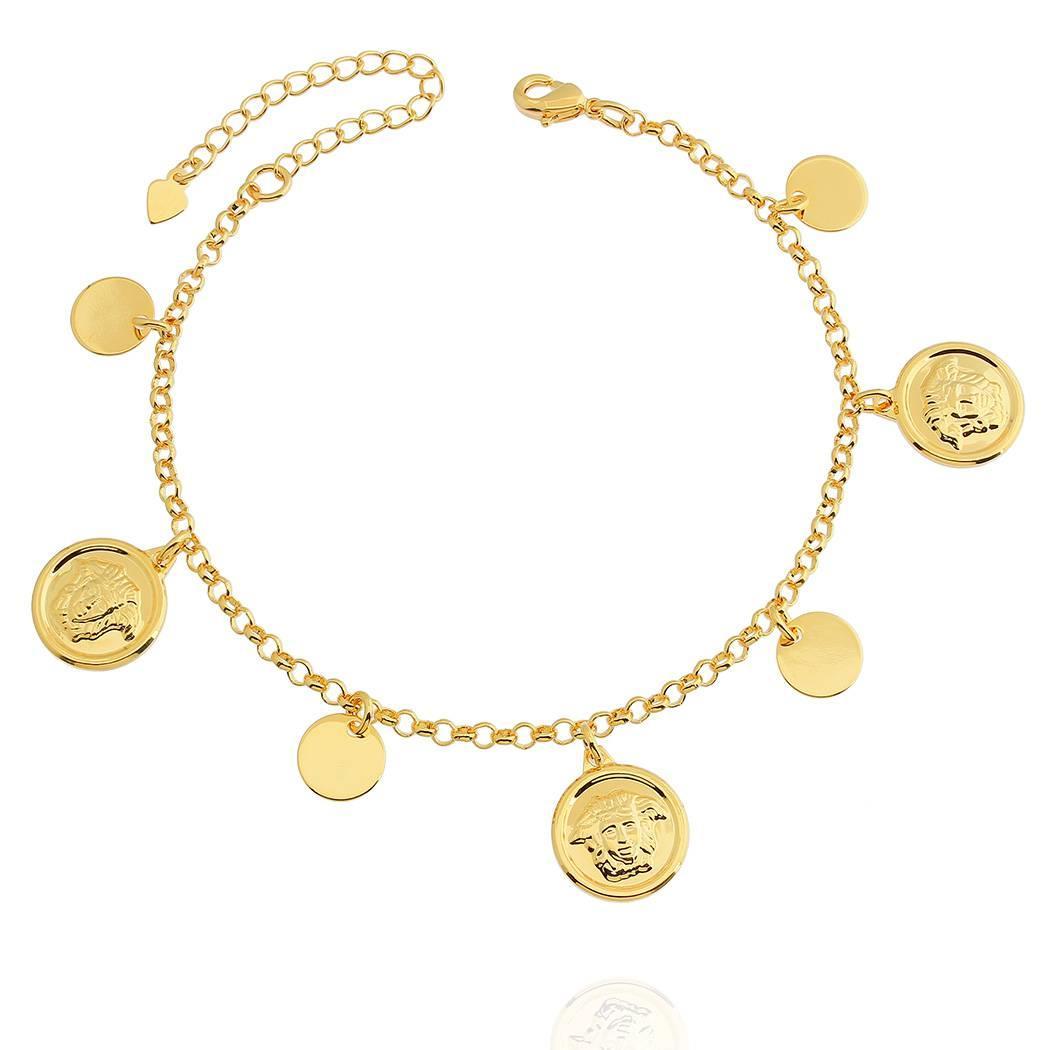 pulseira medusa versace dourada