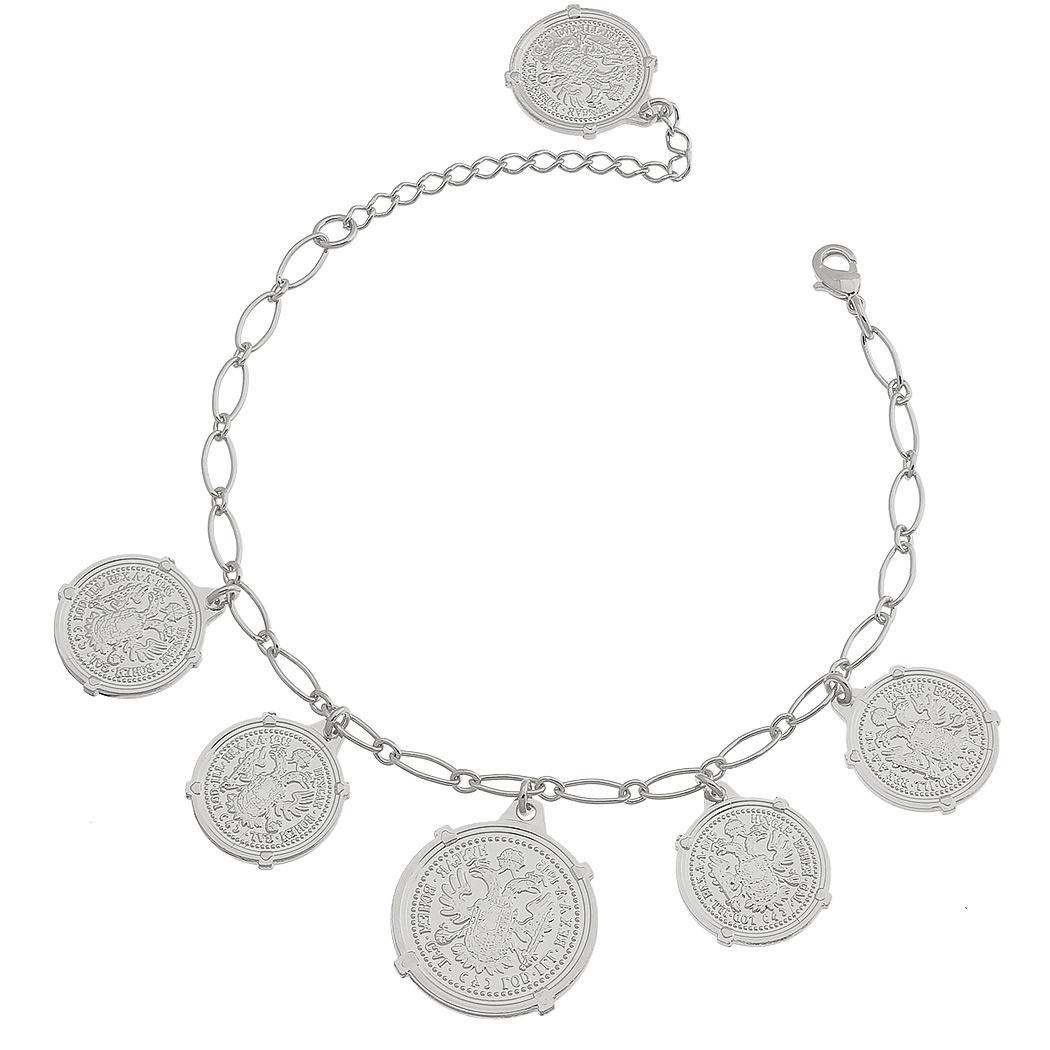 pulseira moedas grandes ródio claro