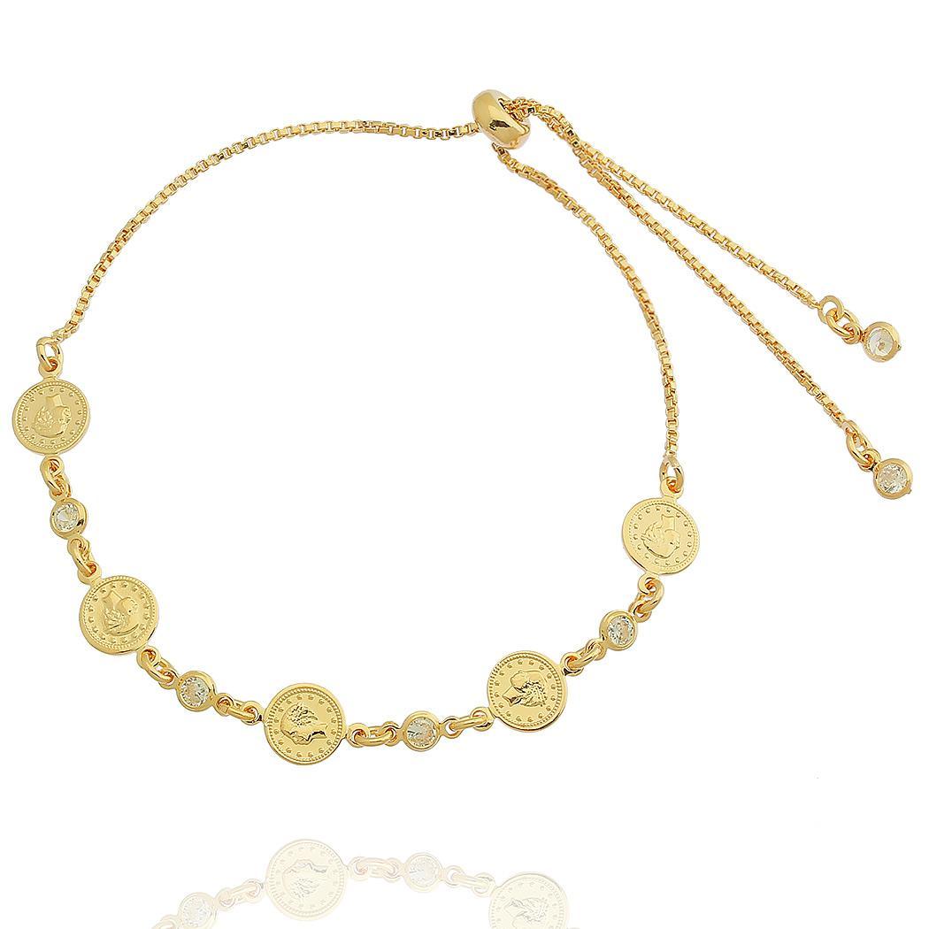 pulseira moedas regulável dourado