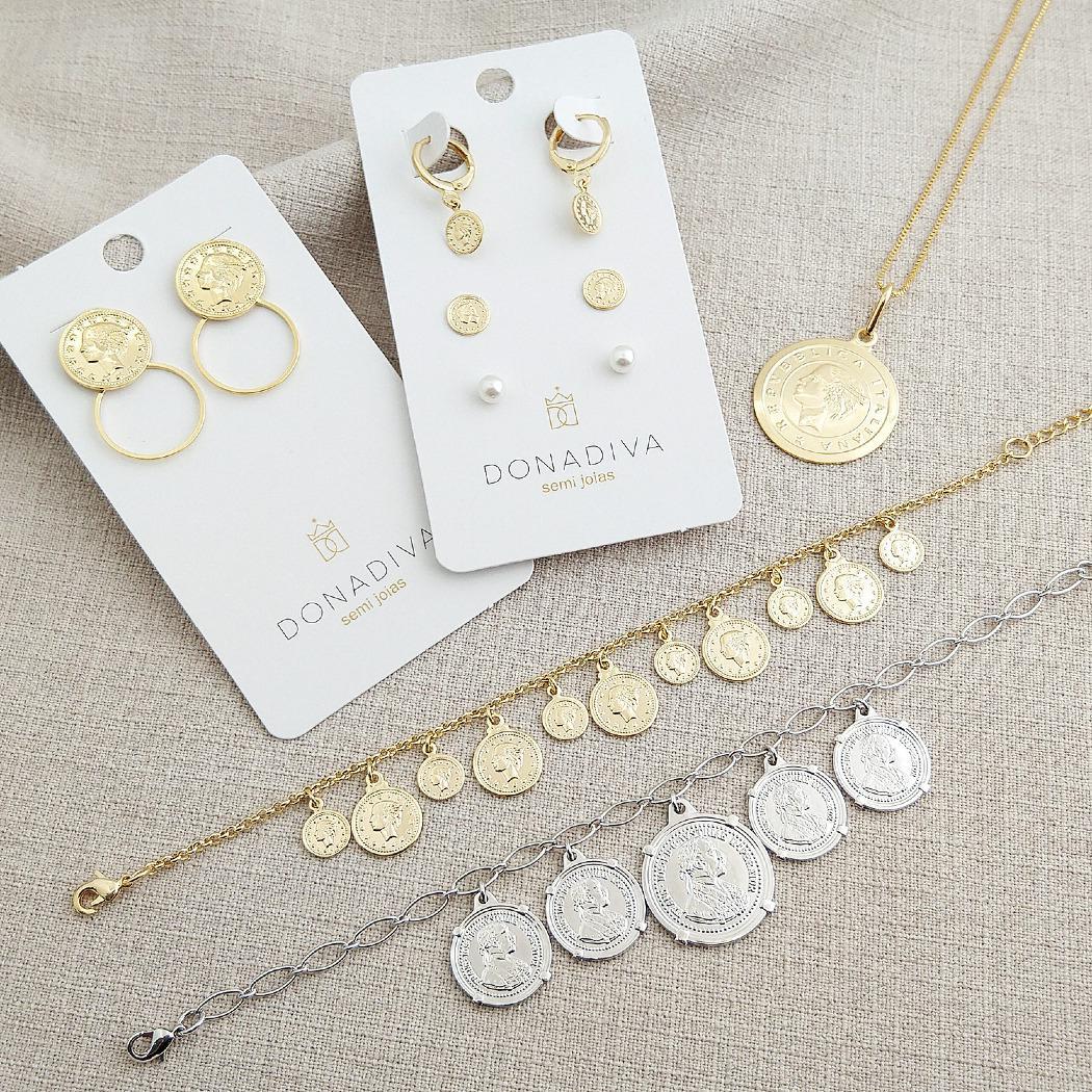 pulseira moedas dourado