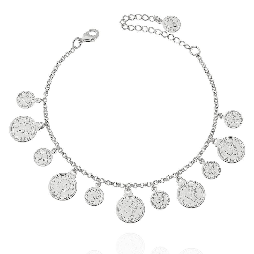 pulseira moedas ródio claro