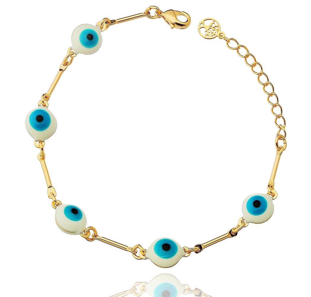 pulseira olho grego esmaltado dourado