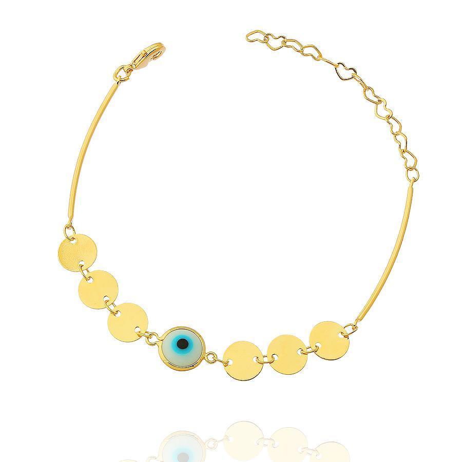 pulseira olho grego medalhas dourado