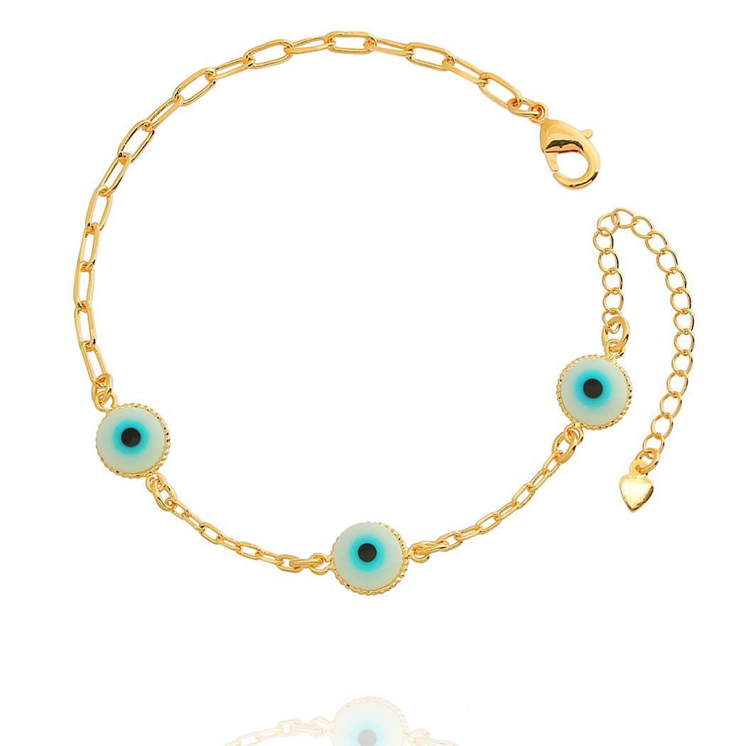 pulseira olho grego dourada