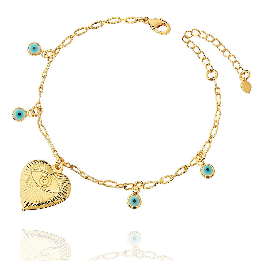 pulseira olho grego coração dourada