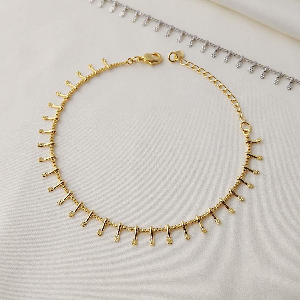 pulseira palitos dourada