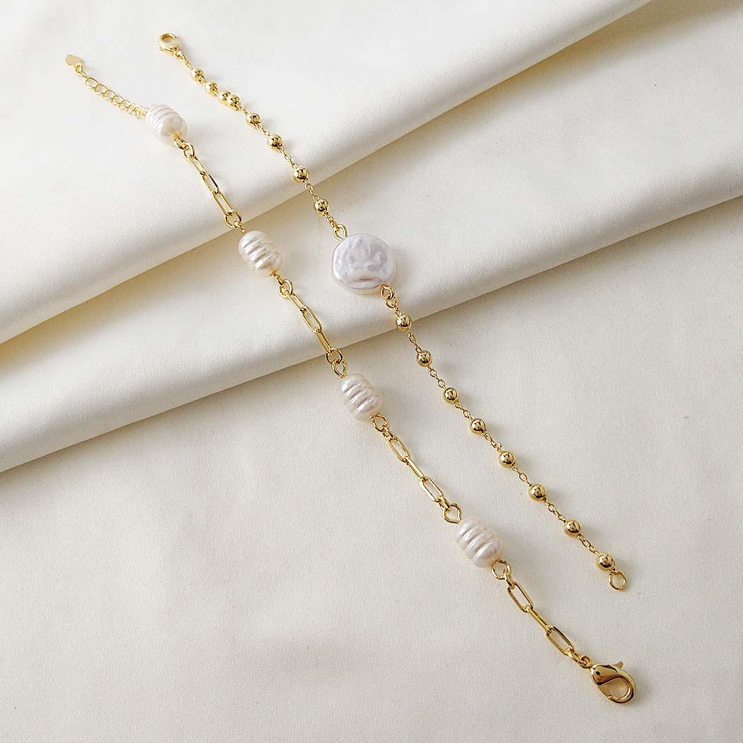 pulseira pérola barroca bolinhas dourada