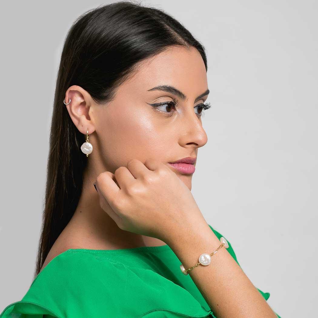 pulseira pérola barroca elos dourada