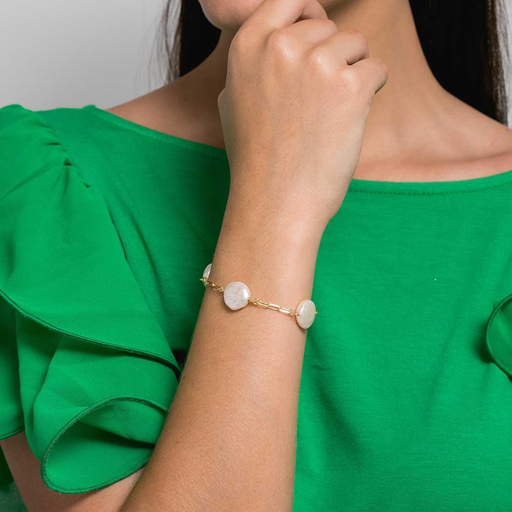 pulseira pérola barroca elos ródio claro