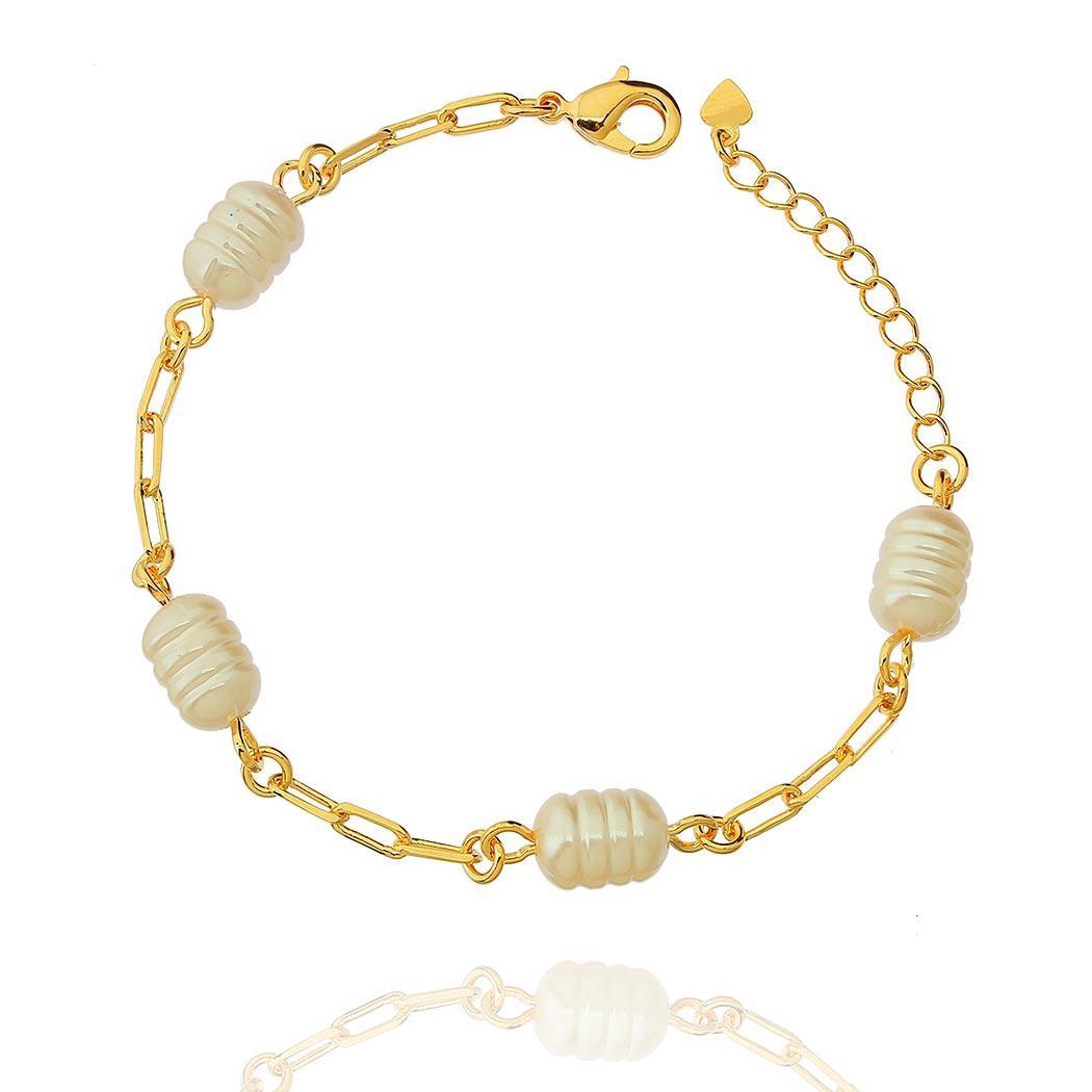 pulseira pérola oval elos dourada