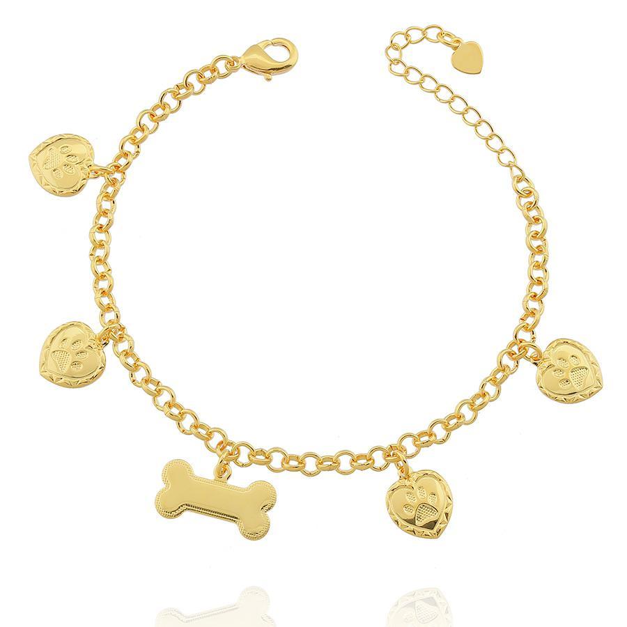 pulseira pet cachorro semijoia dourada
