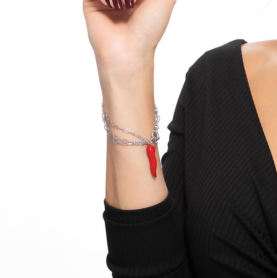 pulseira pimentada esmaltada três correntes ródio claro