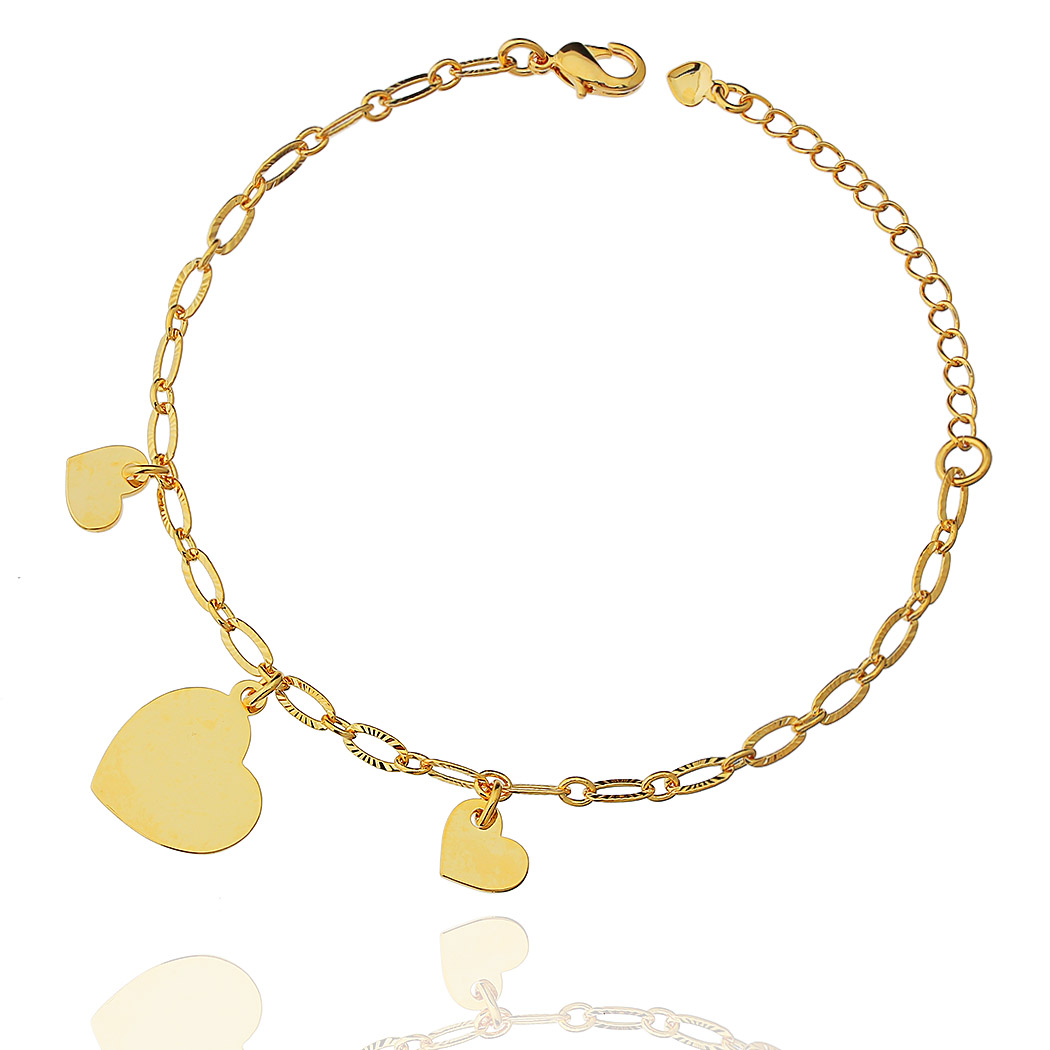 pulseira pingente coração corrente dourado