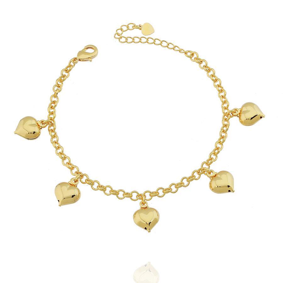 pulseira pingentes corações dourado