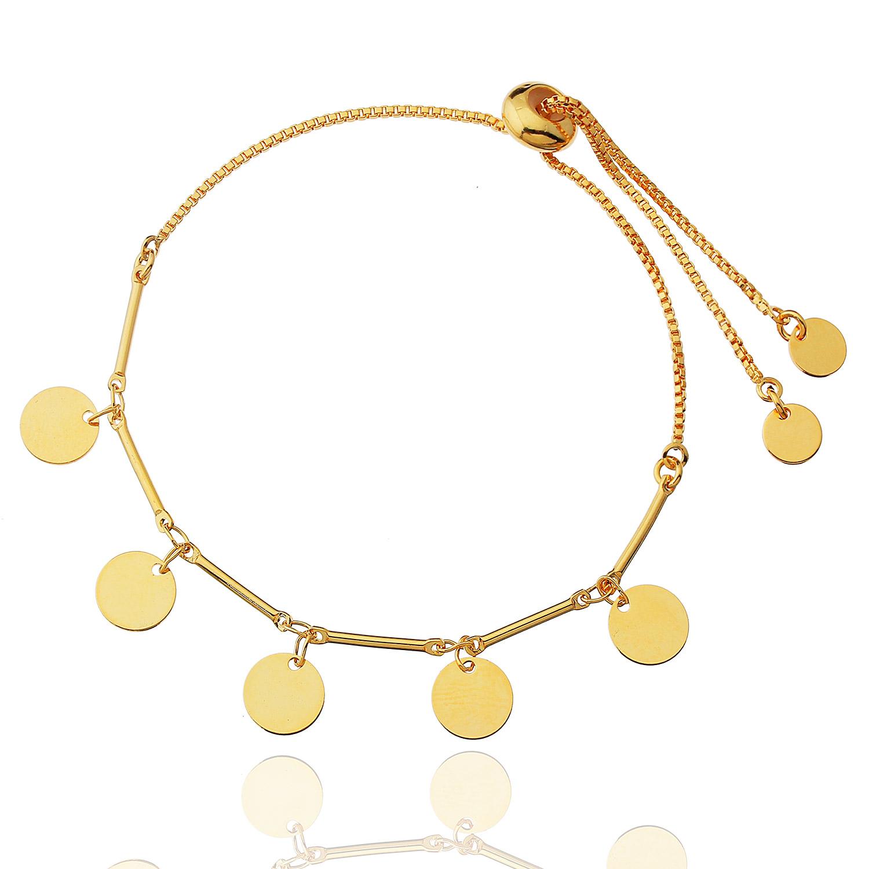 pulseira regulável medalhas dourada