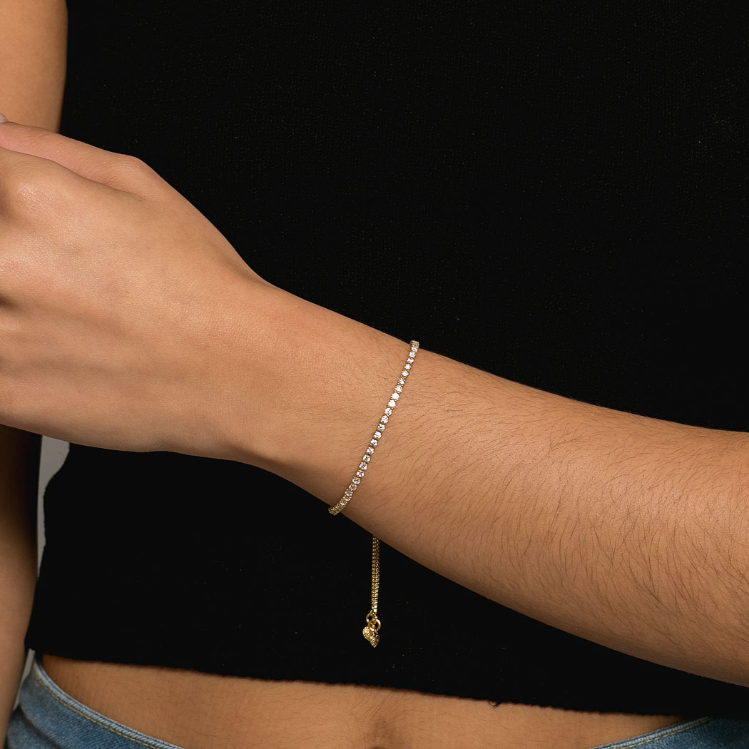 pulseira regulável zircônias dourado