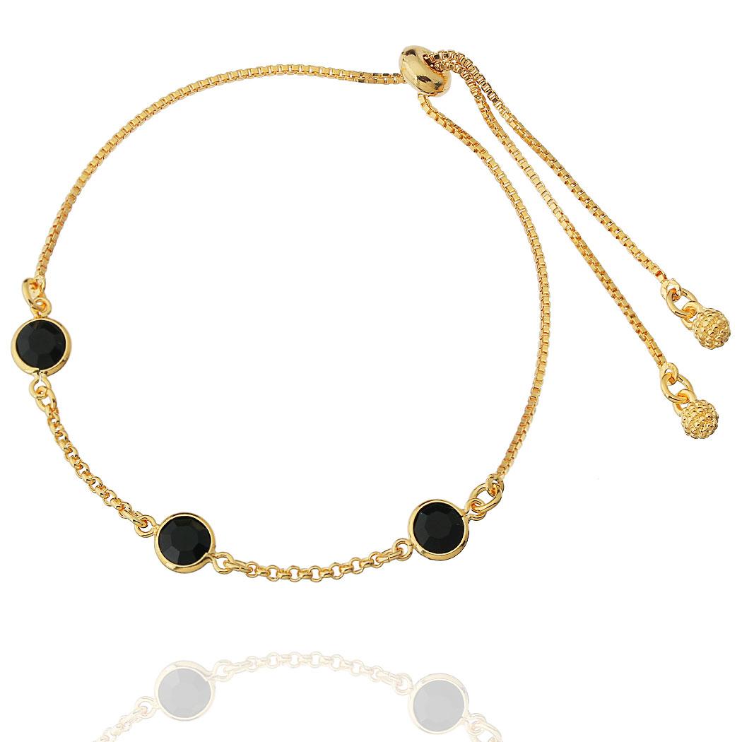 pulseira regulável zircônias negras dourada