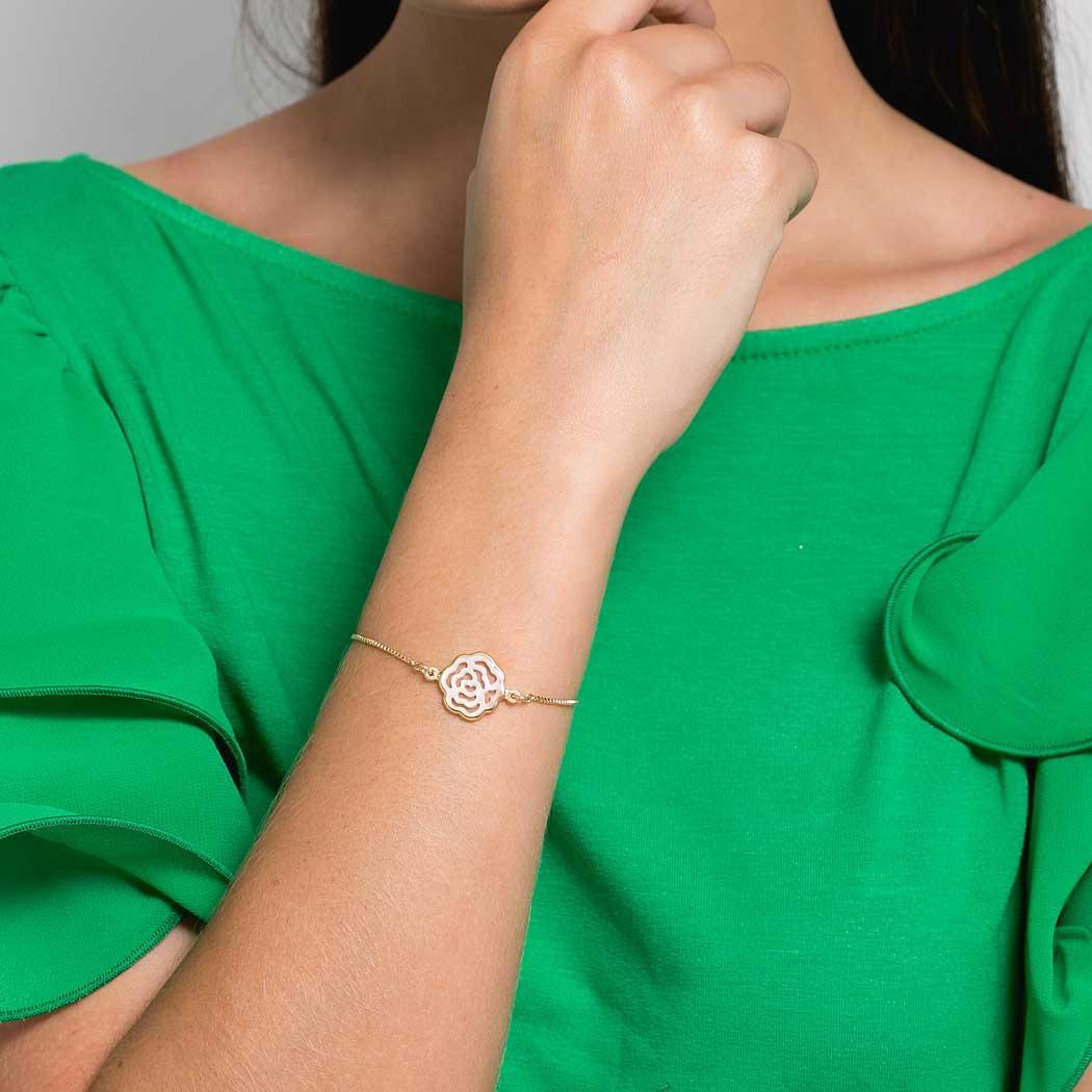pulseira rosa madrepérola regulável dourada