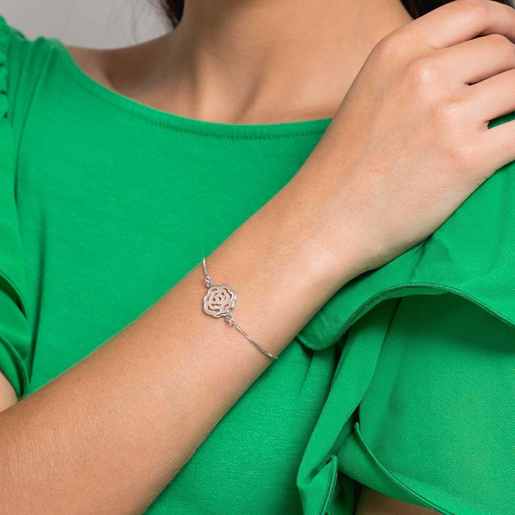 pulseira rosa madrepérola regulável ródio claro