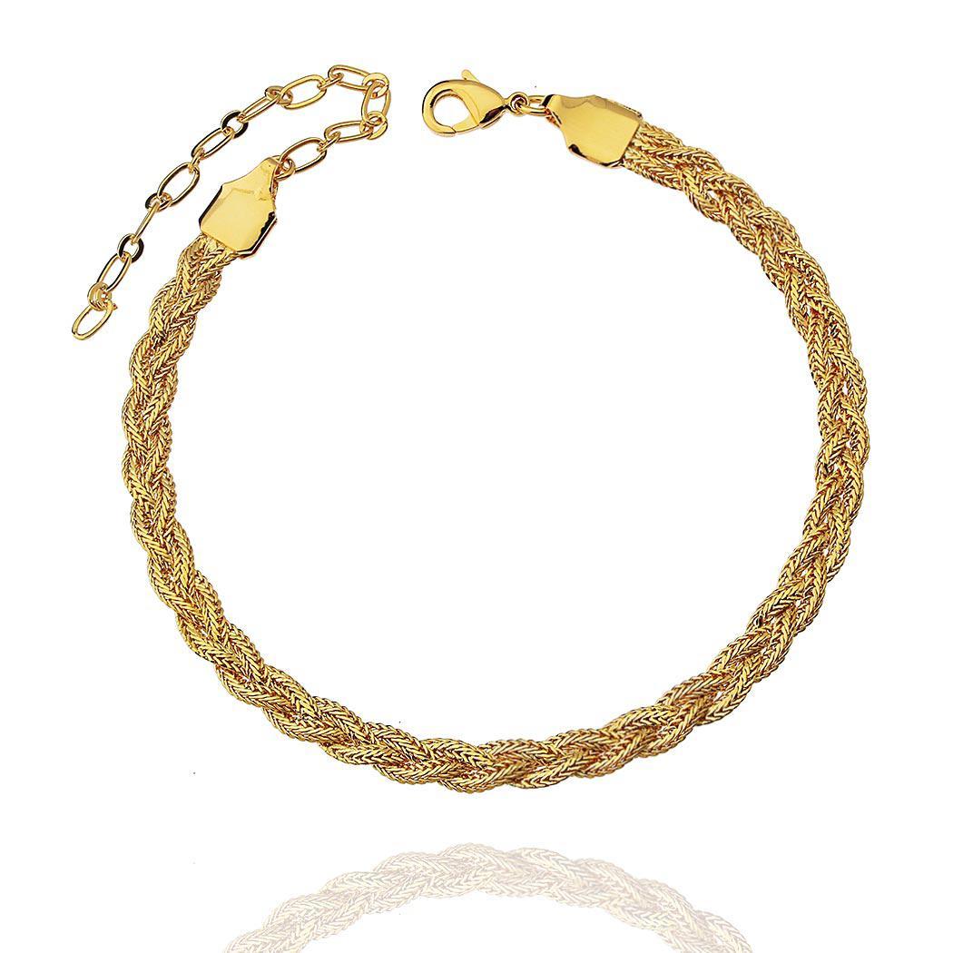 pulseira trançada achatada dourada