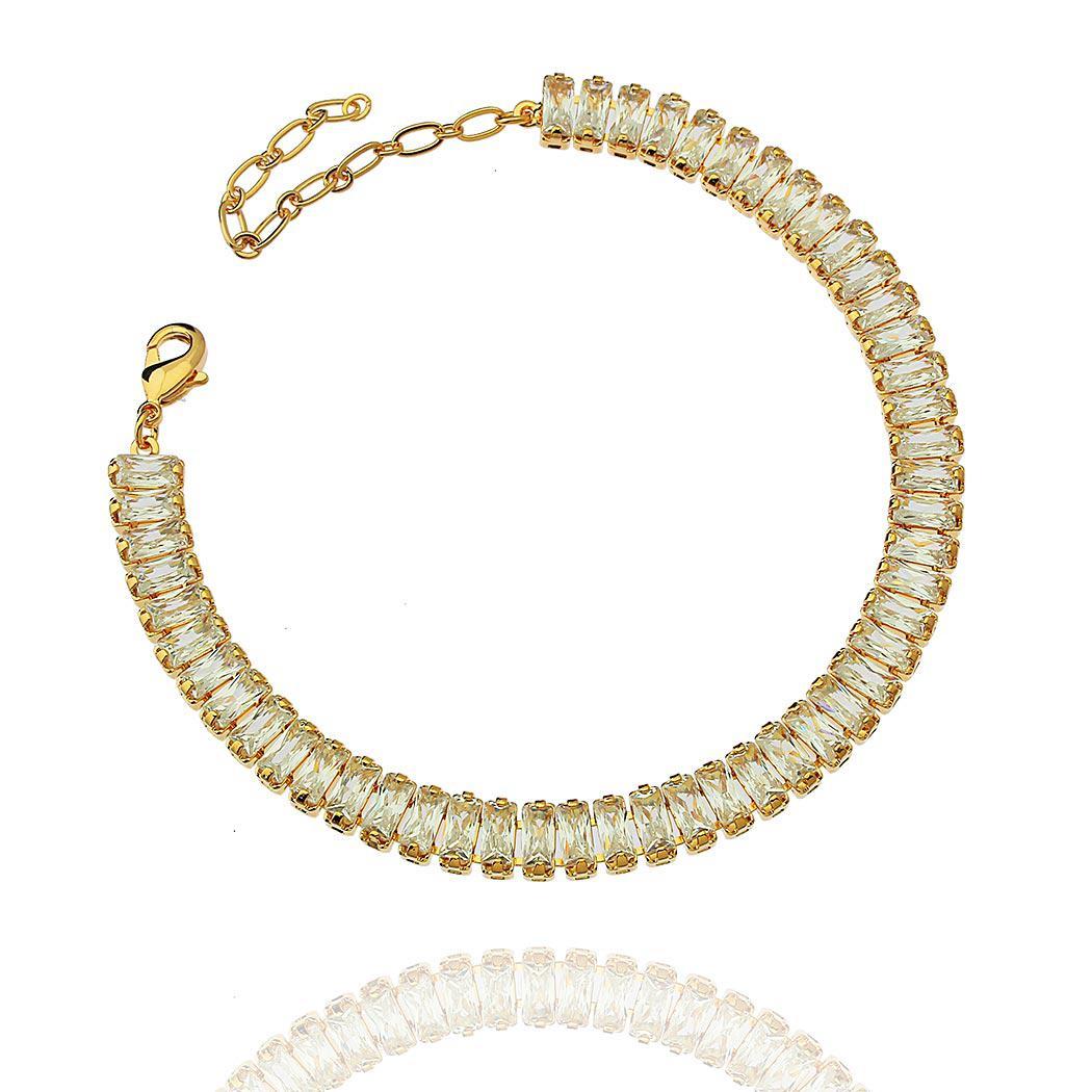 pulseira zircônia baguete dourada