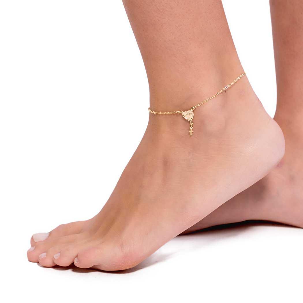 tornozeleira coração espírito santo dourada