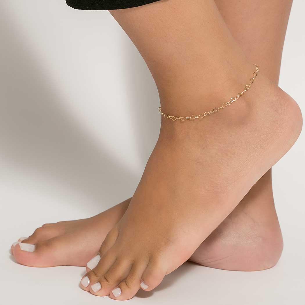 tornozeleira corrente coração dourada