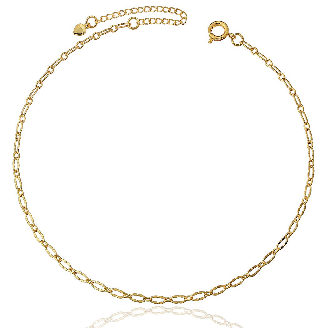 tornozeleira corrente elo diamantado dourada