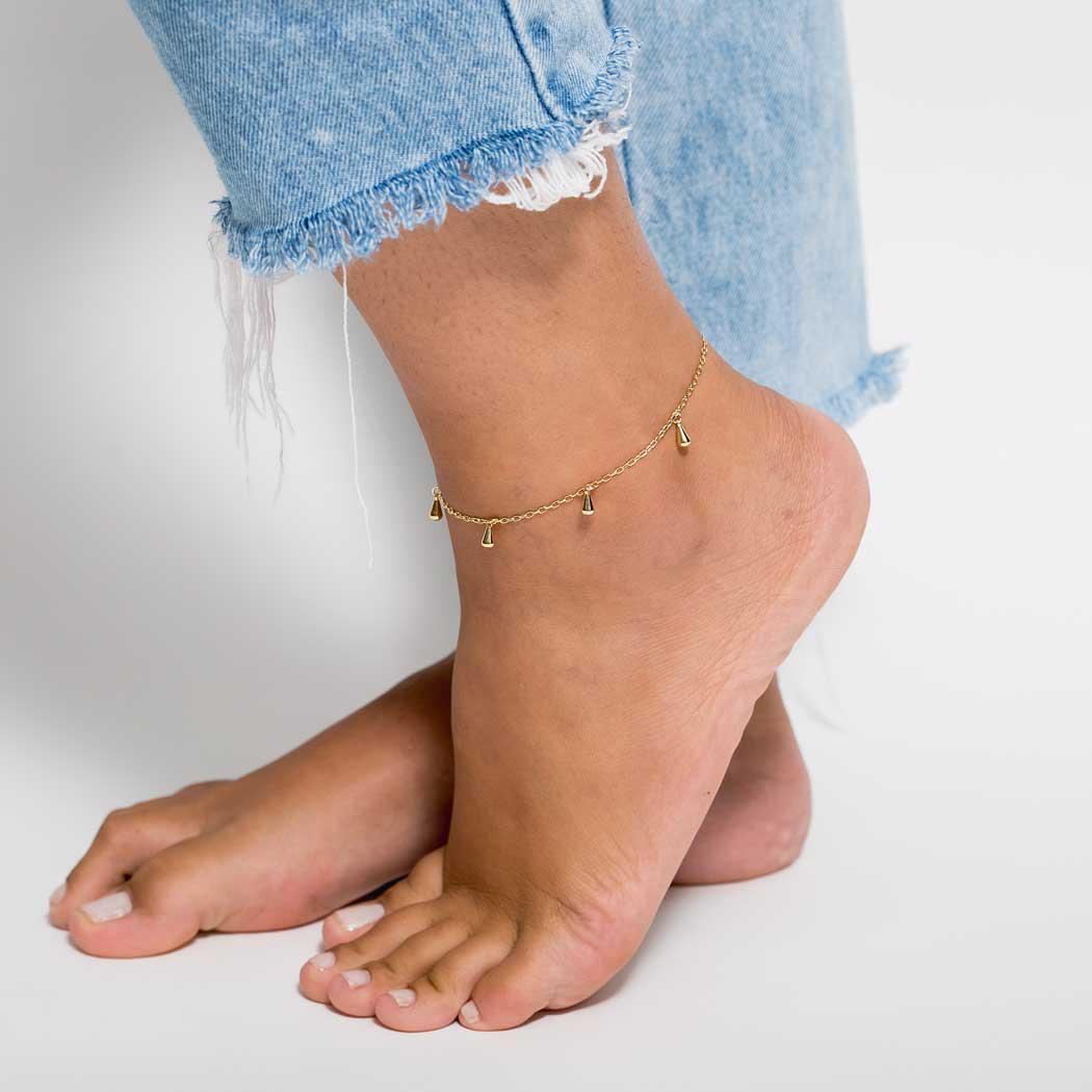 tornozeleira corrente gotas dourada