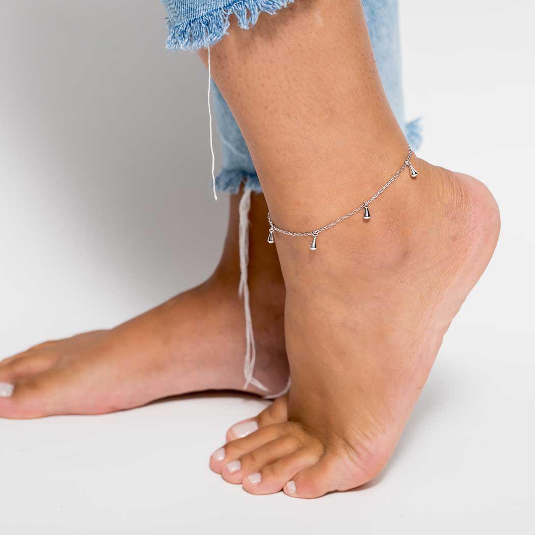 tornozeleira corrente gotas ródio claro