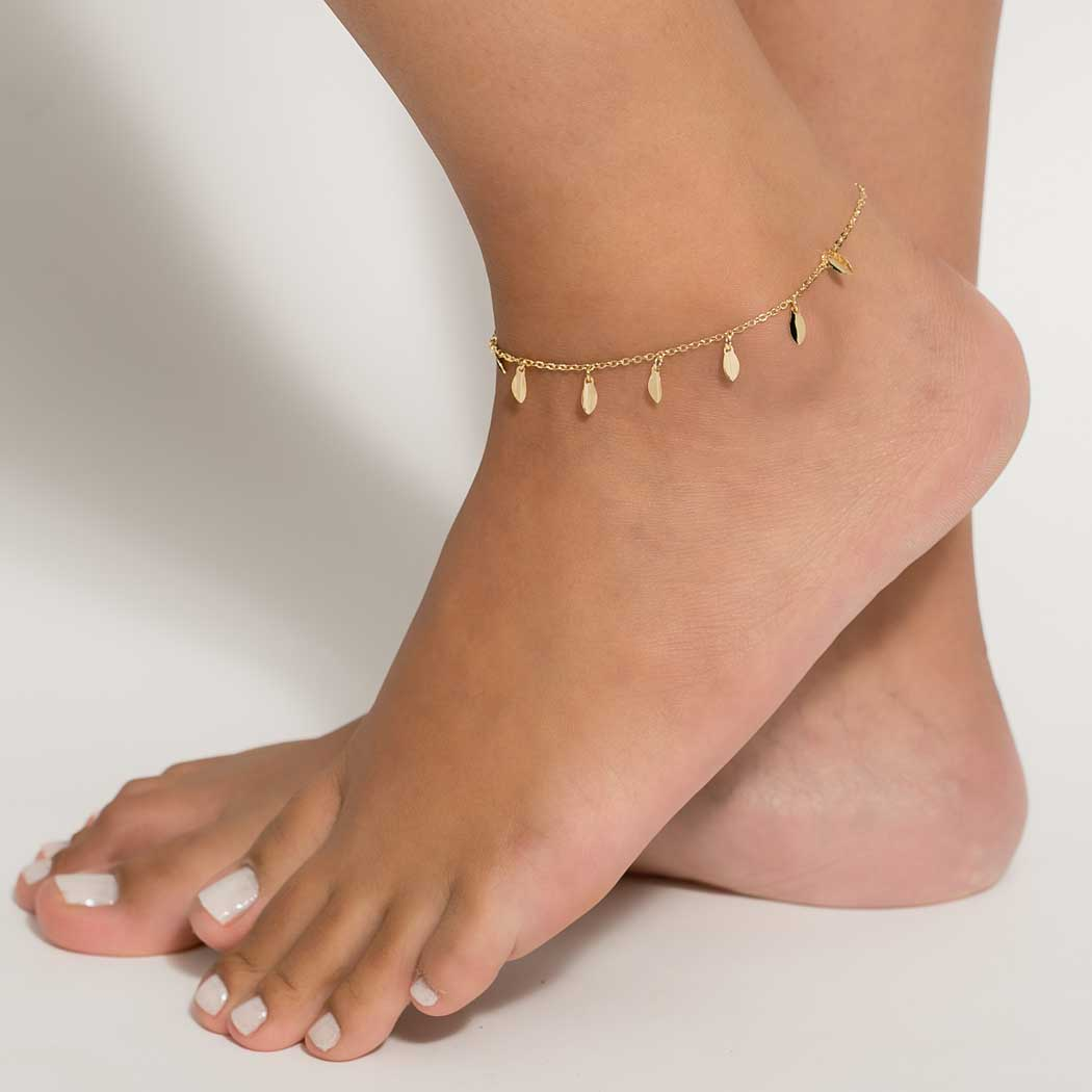 tornozeleira pingente navete dourada