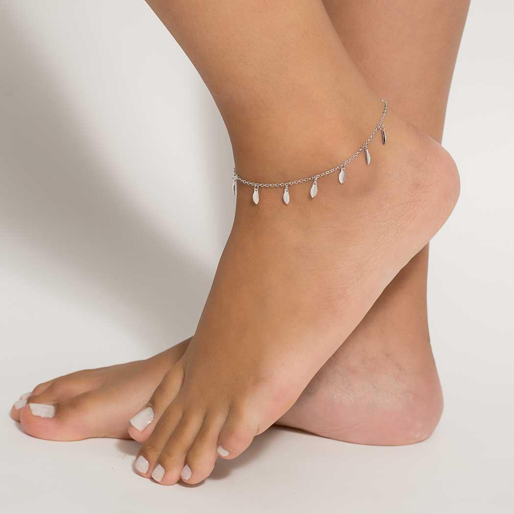 tornozeleira pingente navete ródio claro