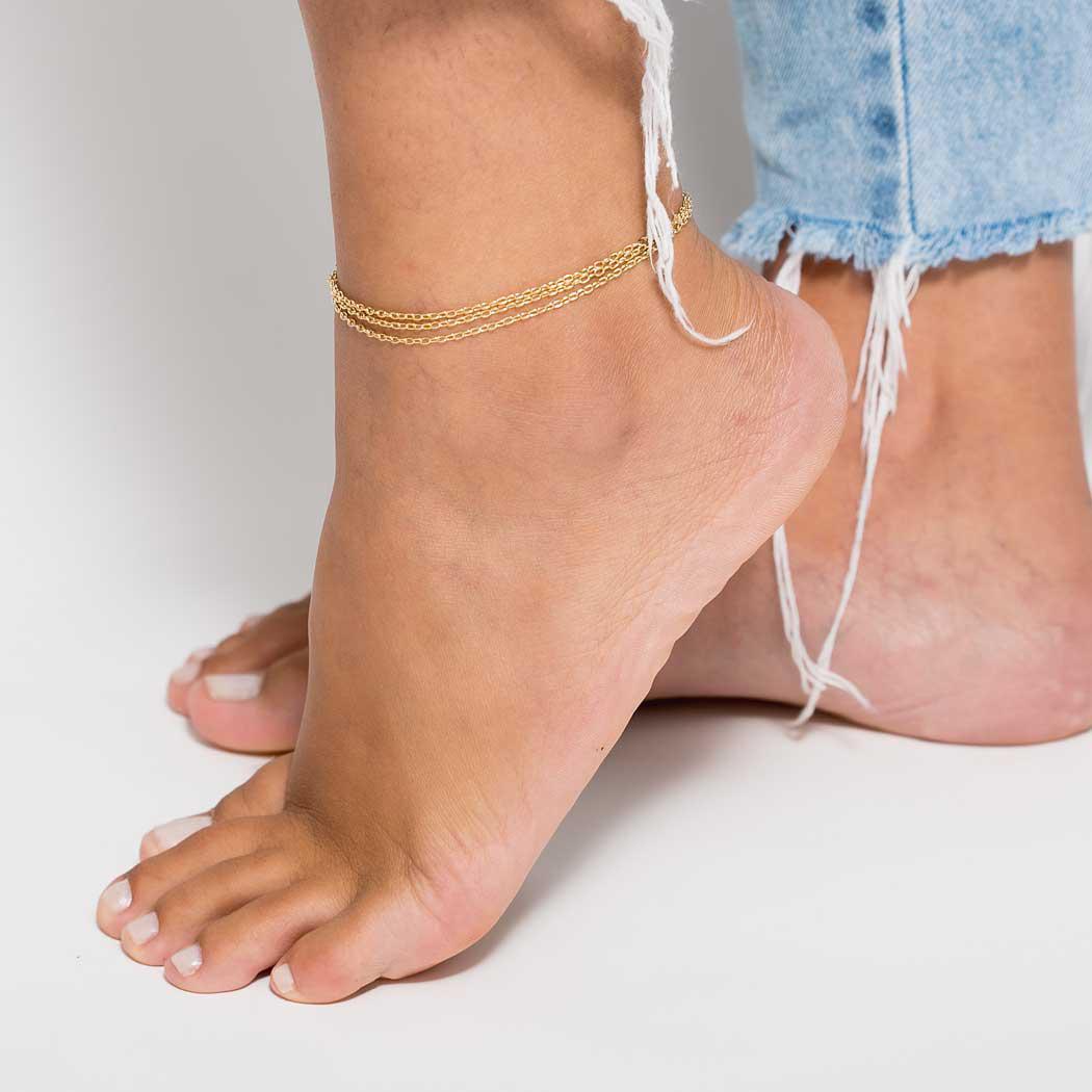 tornozeleira três fios corrente dourada