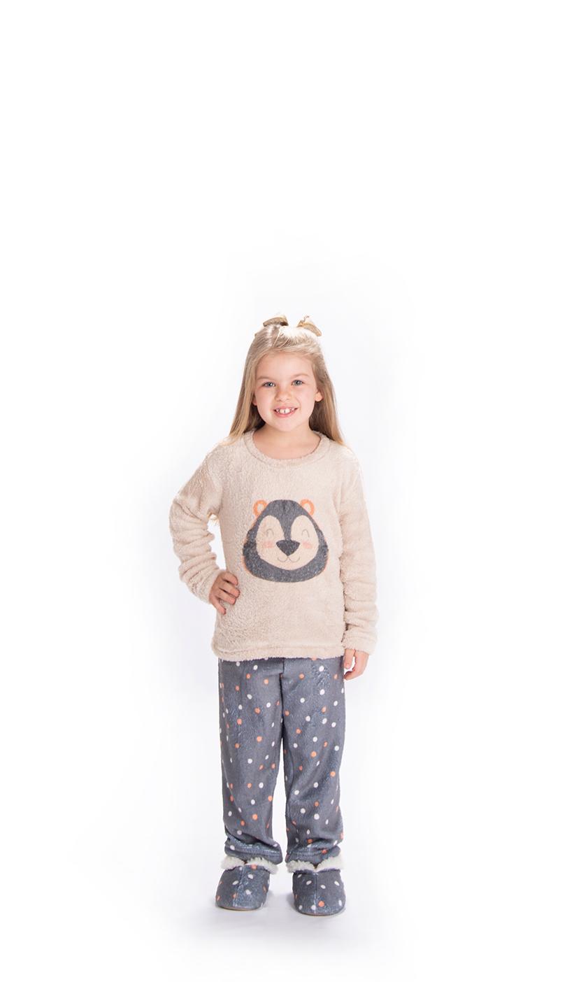 Pijama Infantil Vairelli Inverno Fleece Poliéster Ohana  - Vairelli Chinelos Pijamas Robes