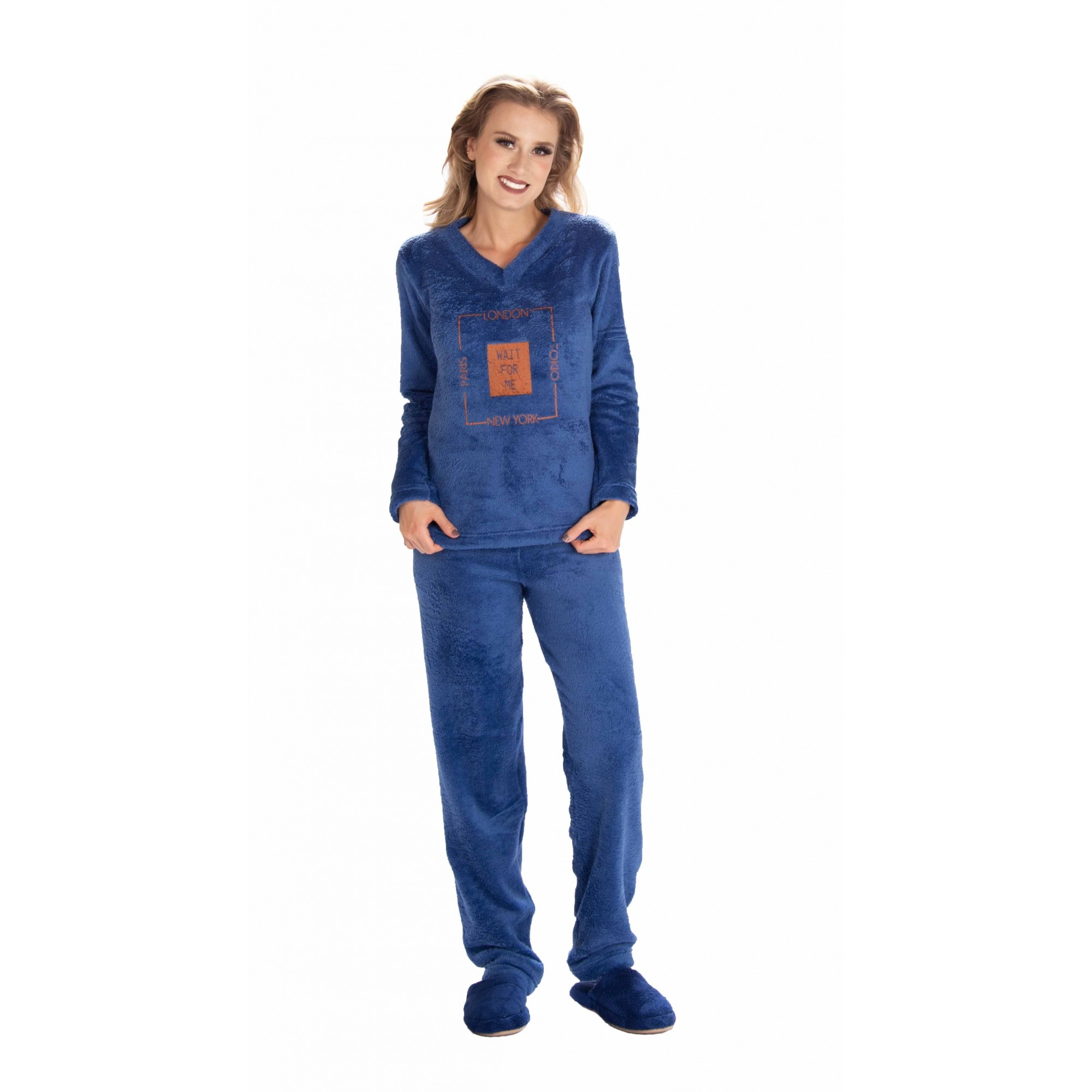 Pijama Feminino Vairelli Inverno Fleece Poliéster Ane quentinho 103241  - Vairelli Chinelos Pijamas Robes