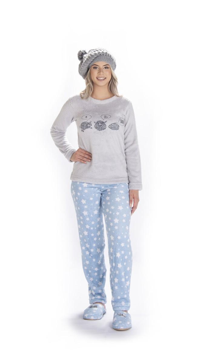 Pijama Feminino Vairelli Inverno Fleece Poliéster Jade Quentinho  - Vairelli Chinelos Pijamas Robes