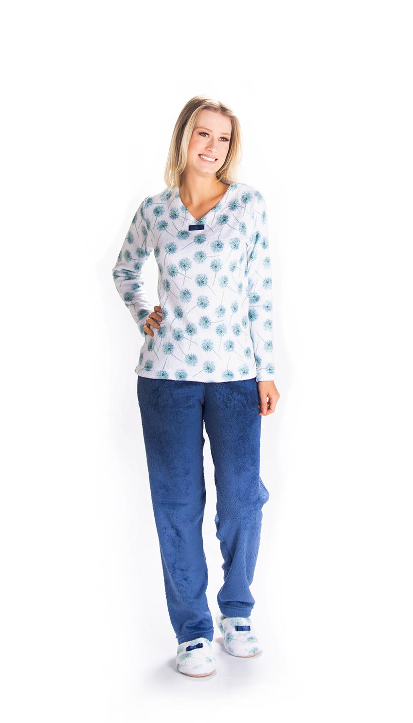 Pijama Feminino Vairelli Inverno Fleece Poliéster Mirela Flowers  - Vairelli Chinelos Pijamas Robes