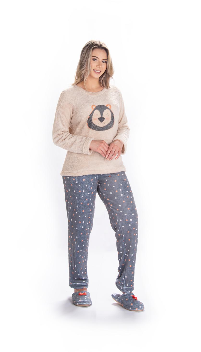 Pijama Feminino Vairelli Inverno Fleece Poliéster Odete  - Vairelli Chinelos Pijamas Robes