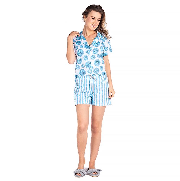 Pijama Feminino Vairelli Verão Eduarda  - Vairelli Chinelos Pijamas Robes