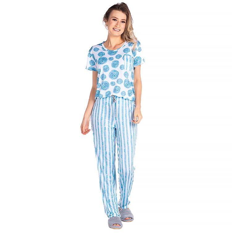 Pijama Feminino Vairelli Verão Ester  - Vairelli Chinelos Pijamas Robes