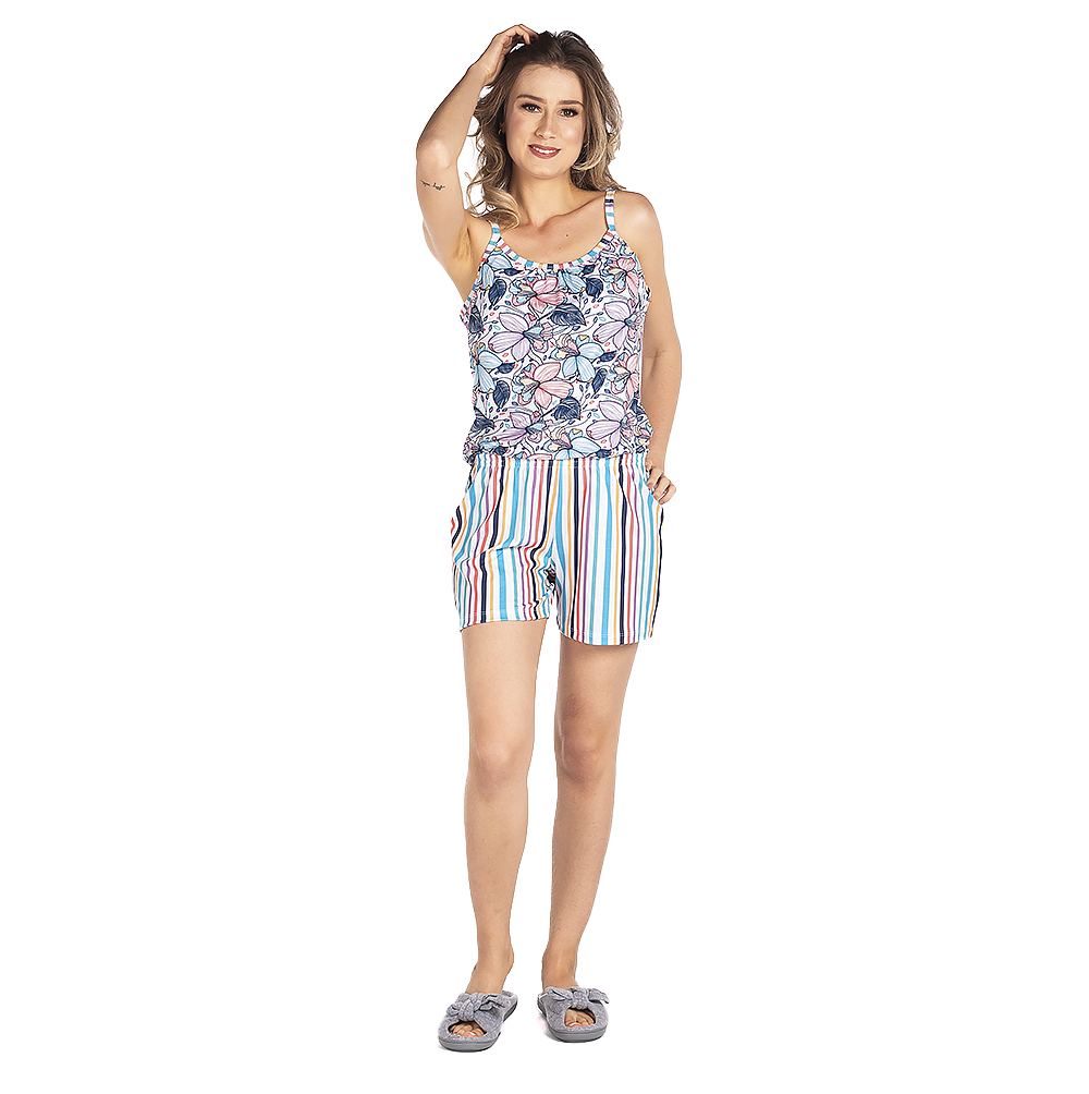 Pijama Feminino Vairelli Verão Raquel  - Vairelli Chinelos Pijamas Robes