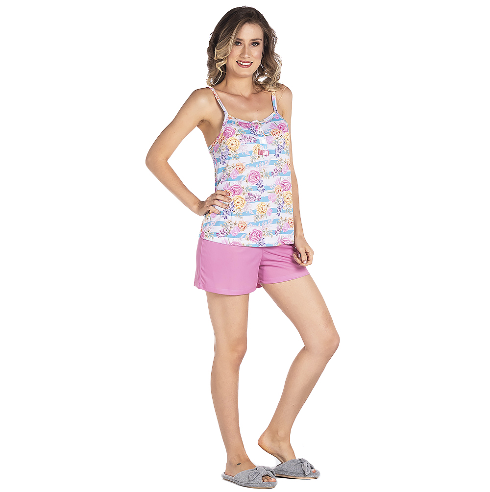 Pijama Feminino Vairelli Verao Violeta  - Vairelli Chinelos Pijamas Robes