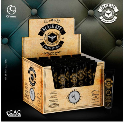 POMADA CICATRIZANTE PARA TATUAGEM BLACK BEE TATTOO 15GR - CAIXA C/ 20 UNID.