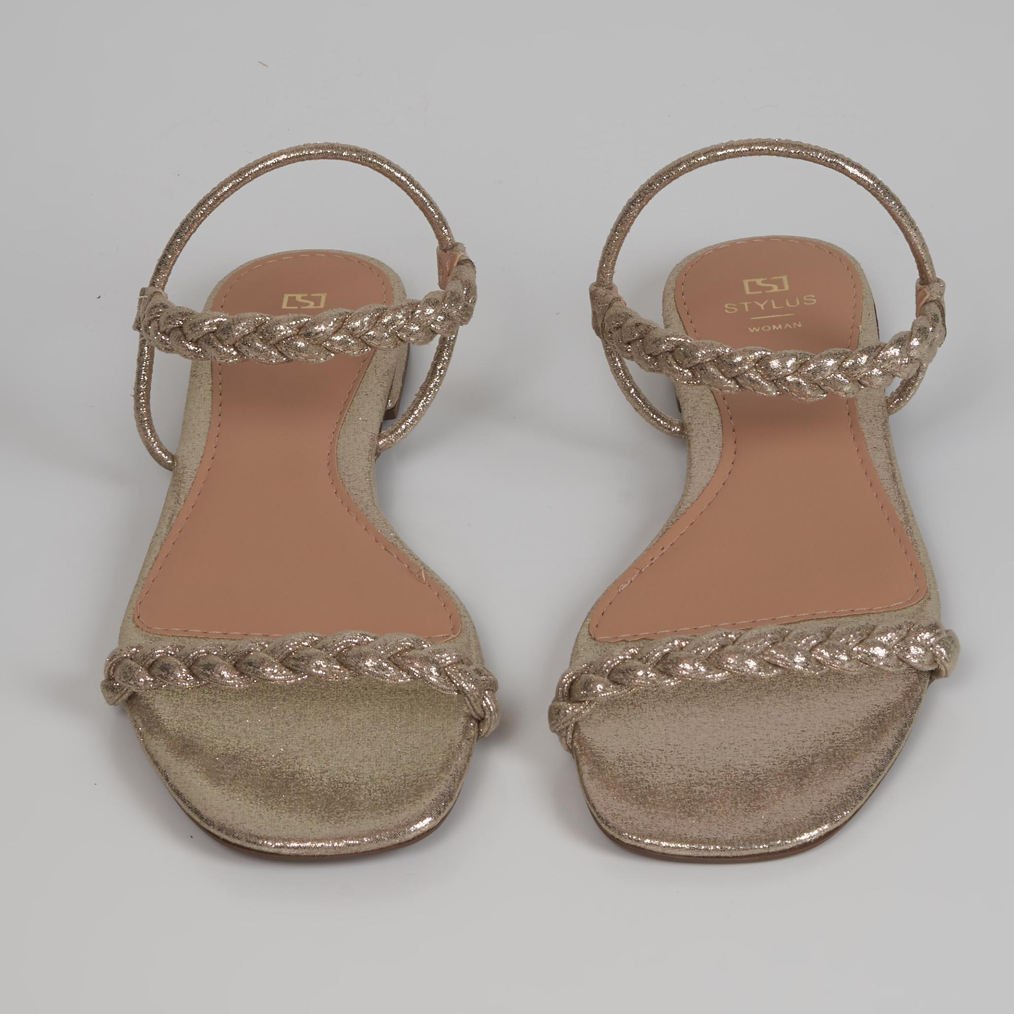 Sandália rasteira tiras tressê