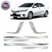 Kit Apliques Cromados Friso Lateral e Moldura Milha P/ Toyota Corolla 2015 16 17