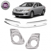 Kit Apliques Cromados Grade Dianteira e Moldura do Milha P/ Toyota Corolla 2012 2013 2014 S/ Pisca