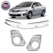 Kit Apliques Cromados Grade e Moldura P/ Toyota Corolla 12 13 2014 C/ Pisca
