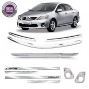 Kit Apliques Cromados Grade Tampa Frisos e Milha P/ Toyota Corolla 12 13 2014 C/ Pisca