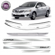 Kit Apliques Cromados Grade Tampa Frisos P/ Toyota Corolla 12 13 2014 C/ Pisca
