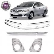 Kit Apliques Cromados Grade Tampa Moldura P/ Toyota Corolla 12 13 2014 C/ Pisca